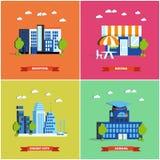 Nowożytna pejzażu miejskiego wektoru ilustracja Miasto budynki ustawiający w płaskim projekcie Szpital, bistra, mądrze miasto i s ilustracji
