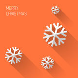 Nowożytna pomarańczowa kartka bożonarodzeniowa z płaskim projektem Fotografia Royalty Free