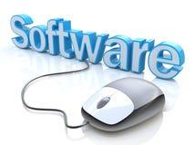 Nowożytna popielata komputerowa mysz łączył błękitny słowa oprogramowanie Fotografia Royalty Free