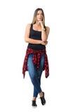 Nowożytna przypadkowa ulica stylu kobieta przyglądająca z ręką pod podbródkiem up Fotografia Stock