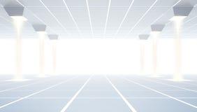 Nowożytna pusta sala wystawowa z dachówkową podłoga i biały tło, Przyszłościowa technologia architektury pojęcie Obraz Royalty Free