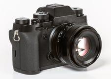 Nowożytna retro mirrorless Cyfrowa kamera od plecy, Odizolowywającego Na Wh Obrazy Stock