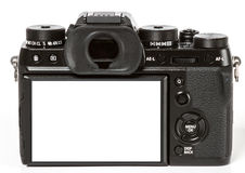 Nowożytna retro mirrorless Cyfrowa kamera od plecy, Odizolowywającego Na Wh Obraz Royalty Free