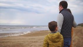 Nowożytna rodzina cieszy się widok morze, one stoi wpólnie obejmować zbiory