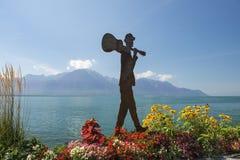 Nowożytna rzeźba na brzeg Jeziorny Genewa Fotografia Royalty Free
