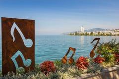 Nowożytna rzeźba na brzeg Jeziorny Genewa Zdjęcie Royalty Free