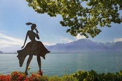 Nowożytna rzeźba na brzeg Jeziorny Genewa Zdjęcia Royalty Free