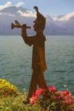 Nowożytna rzeźba na brzeg Jeziorny Genewa Obrazy Royalty Free