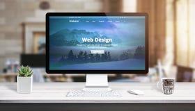 Nowożytna sieć projekta strona na komputerowym pokazie Pojęcie sieć projekta pracy pracowniany biurko royalty ilustracja