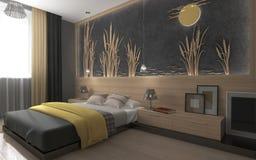 Nowożytna sypialnia z żółtą koc Obrazy Royalty Free