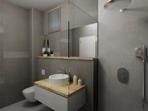 Nowożytna szara łazienka Zdjęcie Royalty Free