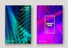 Nowożytna technologia paskował abstrakcjonistyczne pokrywa projekta błękita purpury Ne ilustracja wektor
