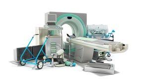 Nowożytna technologia w medycznym technic 3d odpłaca się na bielu Royalty Ilustracja