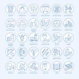 Nowożytna wektor linii ikona jałowy sortować, przetwarza Śmieciarska kolekcja ilustracji