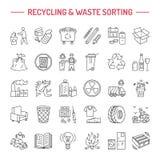 Nowożytna wektor linii ikona jałowy sortować, przetwarza Śmieciarska kolekcja Recyclable odpady - papier, szkło, klingeryt, metal royalty ilustracja