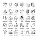 Nowożytna wektor linii ikona jałowy sortować, przetwarza Śmieciarska kolekcja Recyclable odpady - papier, szkło, klingeryt, metal ilustracji