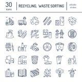 Nowożytna wektor linii ikona jałowy sortować, przetwarza Śmieciarska kolekcja Recyclable odpady - papier, szkło, klingeryt, metal Zdjęcia Royalty Free