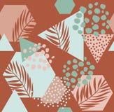 Nowożytna wektorowa ilustracja z tropikalnymi liśćmi, grunge, wykłada marmurem tekstury, doodles, minimalni elementy royalty ilustracja