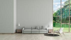 Nowożytna wewnętrzna żywa izbowa drewniana podłogowa biała tekstury ściana z szarym kanapy i krzesła okno ogródu widoku szablonem royalty ilustracja