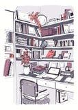 Nowożytna wewnętrzna domowa biblioteka, półka na książki, miejsca pracy nakreślenia ręka rysująca kolorowa ilustracja royalty ilustracja