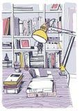 Nowożytna wewnętrzna domowa biblioteka, półka na książki, ręka rysująca kolorowa nakreślenie ilustracja ilustracja wektor