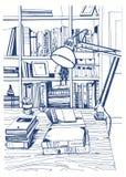 Nowożytna wewnętrzna domowa biblioteka, półka na książki, ręka rysująca nakreślenie ilustracja ilustracja wektor