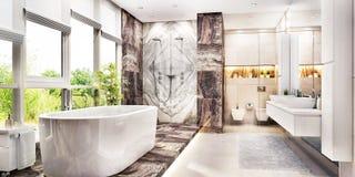 Nowożytna wielka łazienka z wielkim okno obraz stock