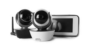 Nowożytne CCTV kamery bezpieczeństwe, monitor na białym tle i obraz royalty free