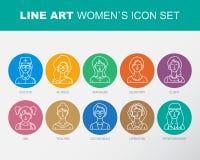 Nowożytne Cienkie Konturowej linii ikony ustawiać ludzie avatars Zdjęcia Stock