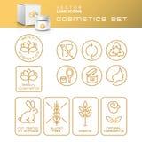 Nowożytne Cienkie Konturowej linii ikony Ustawiać Naturalni kosmetyki Packagin Obrazy Royalty Free