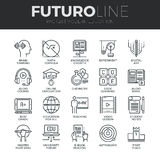Nowożytne edukaci Futuro linii ikony Ustawiać Zdjęcia Royalty Free