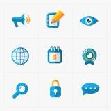 Nowożytne kolorowe płaskie ogólnospołeczne ikony ustawiać na bielu Obraz Royalty Free