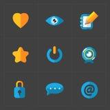 Nowożytne kolorowe płaskie ogólnospołeczne ikony ustawiać na zmroku Obrazy Royalty Free