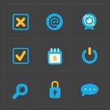 Nowożytne kolorowe płaskie ogólnospołeczne ikony ustawiać na zmroku Fotografia Stock