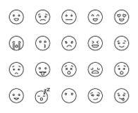 Nowożytne konturu stylu emoji ikony inkasowe royalty ilustracja