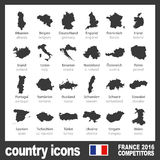 Nowożytne kraj map ikony uczestniczyć zespalają się definitywny piłka nożna turniej euro 2016 w France czerni ilustracja wektor