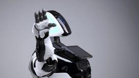 Nowożytne mechaniczne technologie Biały nowożytny robot w jaskrawym studiu Android macha powitanie rękę, wita widza zbiory
