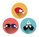 Nowożytne płaskie bokserskie rękawiczki z długim cienia skutkiem ilustracji