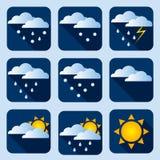 Nowożytne pogodowe ikony ustawiać Płascy wektorowi symbole na ciemnym tle royalty ilustracja
