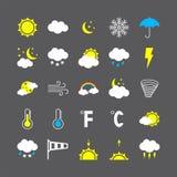 Nowożytne pogodowe ikony ustawiać Płaska wektorowa ilustracja royalty ilustracja