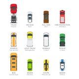 Nowożytne pojazdu transportu Odgórnego widoku Wektorowe ikony Ustawiać ilustracja wektor