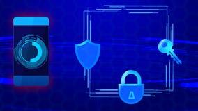 Nowożytne urządzenia przenośnego bezpieczeństwo danych technologie, ochrona cyfrowi dane użytkownika ilustracja wektor