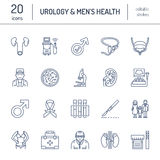 Nowożytne wektor linii ikony urologia Elementy - urolog, pęcherzowa, onkologiczna urologia, cynaderki, adrenal gruczoł ilustracja wektor