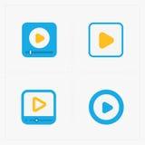 Nowożytne wektorowe kolorowe płaskie odtwarzacz wideo ikony Zdjęcia Royalty Free
