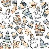Nowożytnego śmiesznego koloru wakacje bezszwowy wzór Ręka rysunkowy wektor Zdjęcie Royalty Free