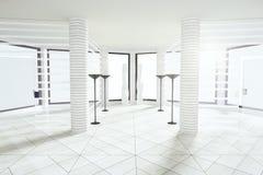Nowożytnego bielu pusty pokój z filarami i dużymi okno royalty ilustracja
