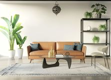 Nowożytnego czecha stylu wewnętrzny pokój z tabaczną kanapą