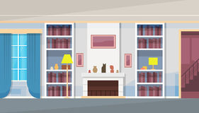 Nowożytnego domu domu Żywy Izbowy wnętrze ilustracja wektor