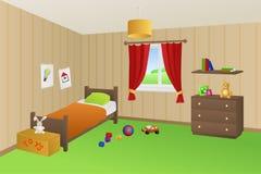 Nowożytnego dzieciaka izbowe beżowe zabawki zielenieją łóżkową pomarańczową poduszki okno ilustrację Zdjęcia Stock