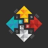 Nowożytnego infographic sztandaru geometryczny strzałkowaty abstrakcjonistyczny projekt Zdjęcia Stock